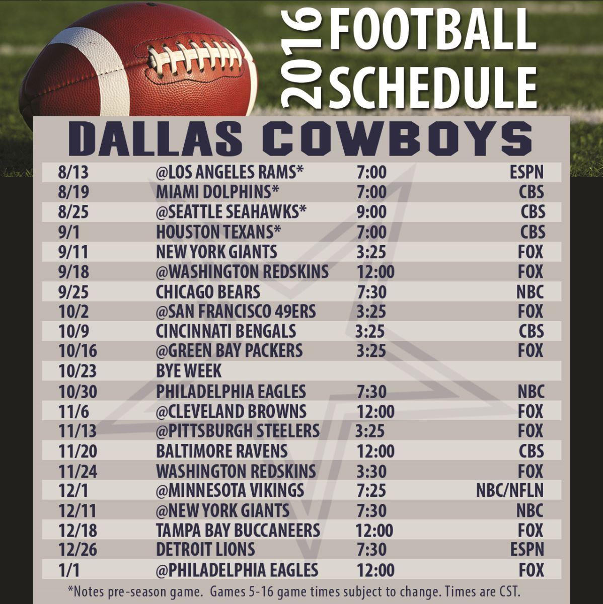 Cowboys Football Schedule For 2016 2017 Season